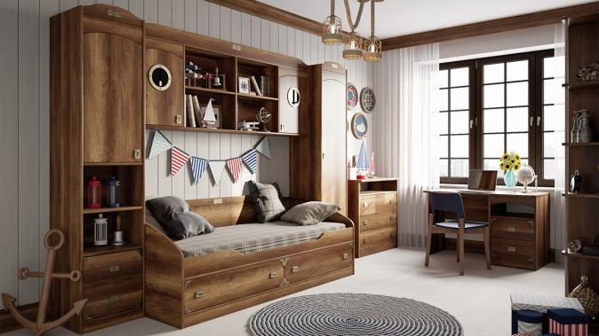Кровать с 2-мя ящиками Навигатор
