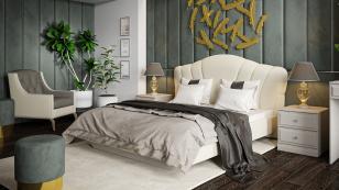 Кровать с мягким изголовьем «Сабрина» (1600) ТД-307.01.01