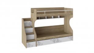 Кровать 2-х ярусная с лестницей приставной с ящиками Оксфорд