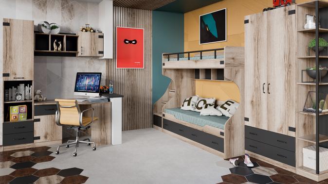 Кровать двухъярусная с приставной лестницей Окланд